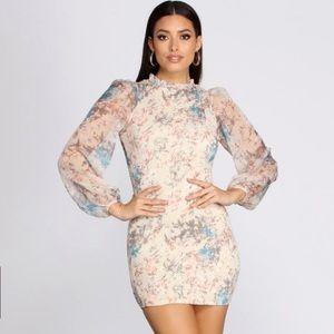 Pastel chiffon smocked mini dress